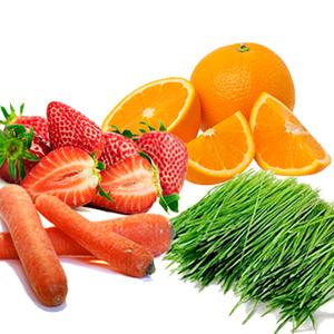Carrot/ Orange Juice/ Strawberries/ Wheat Grass Powder